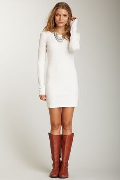 Love this Thermal dress w/ the boots...& the necklace!