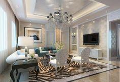 diseño de techo recortado para salón lujoso