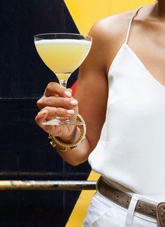 A more delicate alternative to most brunch cocktails, the East of Eden combines gin, lemon juice, elderflower liqueur, and an inventive Gewürztraminer syrup.