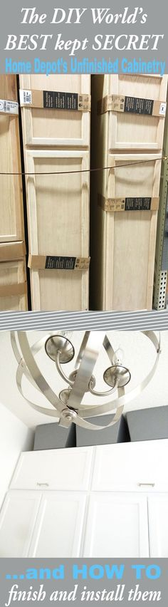 How to paint and install cabinets!  These unfinished cabinets at Home Depot are a great deal.  DIY Home Decor.