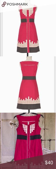 Anthropologie Floreat Cute as Pie Dress Description: credit Anthropologiestylearchive.com Cherry-red poplin is topped with whipped-cream appliques, dainty buttons and a ruffled yoke. By Floreat.  Side pockets Button closure Cotton; cotton lining Anthropologie Dresses Midi