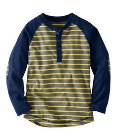 Hanna Andersson Gray   Honeycomb Stripe Raglan Henley - Infant 2d0b1ee465f