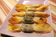Recette bonbons lard/pruneau et bonbons au chèvre par Geraldine : Tapas délicieux qui changent un peu des toasts au pâté..Ingrédients : menthe, pignon de pin, feuille de brick, pignon, pruneau