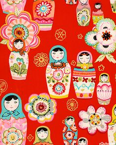 "Zhivago - Nadya Nesting Dolls - Flame/Gold US $10.95: Traditional nesting dolls pose among flowers bursting with color in this gorgeous Russian flavored folk art design. Adorned with gold metallic, these charming large scale matryoshka dolls will capture your heart. Larger dolls are about 5 1/2"", with gold metallic, 'Nadya' from the 'Zhivago' collection by Alexander Henry Fabrics."