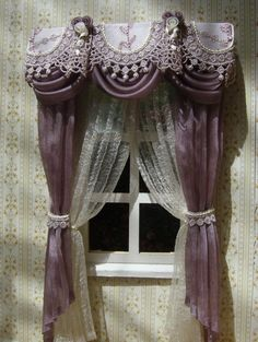Miniature 1:12 Dollhouse curtains