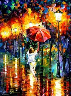 Red Umbrella — PALETTE KNIFE Oil Painting On Canvas by AfremovArtStudio, $339.00