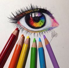 Colored pencil rainbow eye drawing, how neat! Amazing Drawings, Beautiful Drawings, Cute Drawings, Pencil Drawings, Amazing Art, Cool Drawings Tumblr, Awesome, Realistic Eye Drawing, Drawing Eyes