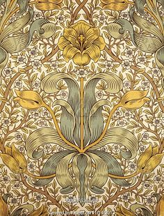 Lily wallpaper, by William Morris. London, England, Find similar William Morris wallpaper and fabrics at Dible and Roy 01225 862320 William Morris Wallpaper, William Morris Art, Morris Wallpapers, Lily Wallpaper, Fabric Wallpaper, Pattern Wallpaper, Wallpaper Samples, Motifs Art Nouveau, Motif Art Deco