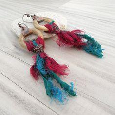 Silk Tassel Earrings Festive Bohemian Teal and by GypsyIntent, $40.00