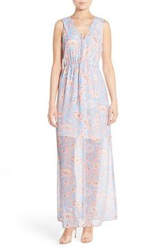 Charles Henry Floral Print Tie Neck Maxi Dress