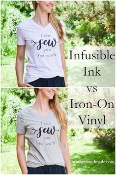 Iron-on vinyl vs infusible ink: what are they and what is the difference? Use either of them to make easy DIY graphic tees!Iron-on vinyl or heat transfer vinyl has been around for crafters to use for a long time. Cricut has recently released infusibl Cricut Iron On Vinyl, Vinyl Art, Cricut Heat Transfer Vinyl, Ink Transfer, Iron On Transfer, Cricut Craft Room, Thing 1, Cricut Explore Air, Cricut Tutorials