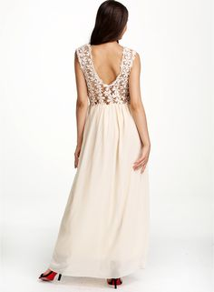Apricot Sleeveless Floral Crochet Lace Maxi Dress 19.67