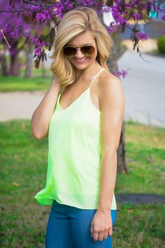 Breaking Ground Tank in Lime  shopbelleboutique.com