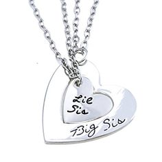O.RIYA Big Sis Lil Sis Necklaces Set for 2 ,2pcs/set Silver Tone Big Sis Lil Sis Little Sister Bff Best Friends Forever Detachable Heart Broken Heart Necklace Set >>> To view further for this item, visit the image link.