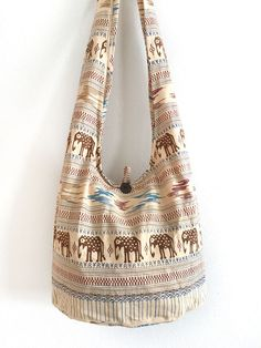 New Thai Elephant Sling Shoulder Bag Cotton Hippie Boho Bag Handmade Tan Color #thaibag #hippie