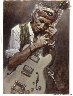 26 Beautiful Paintings and Caricatures by Sebastian Kruger Illustrations, Illustration Art, Arte Bar, Sebastian Kruger, Disney Paintings, Pinturas Disney, Rolling Stones Logo, Celebrity Caricatures, Keith Richards