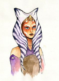 Ahsoka Tano from Star Wars Rebels :] I am just soooo excited for 2nd season! watercolour + ink + white gel pen