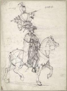 "Albrecht Dürer, The Italian trophy (design for the ""Triumphal Procession of Emperor Maximilian I""), 1518, Albertina, Vienna (pen and black ink)"