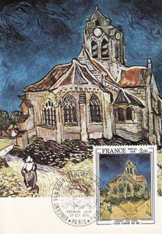 Timbre : 1979 VINCENT VAN GOGH L'ÉGLISE D'AUVERS SUR OISE | WikiTimbres