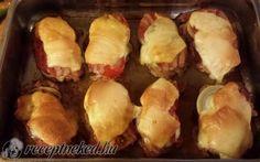 Karajszeletek minden jóval Baked Potato, Bacon, Potatoes, Ethnic Recipes, Food, Potato, Hoods, Meals, Baked Potatoes