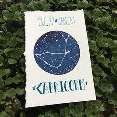Capricorn Zodiac Constellation - 4x6 original astrology watercolor