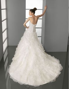 Strapless With Two Lines Beading Decoration Wedding Dress,wedding dress
