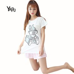 Summer of 2017 The New Pajamas Female Cartoon Leisurewear Suit Personality Lovely and Sweet Girl Girlfriends Leisure Clothing