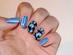 #Nail #Nails #Nail-art #design #Ногти #Маникюр #Идея_для_маникюра #цветочный принт #полоски на ногтях
