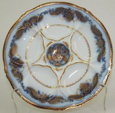 Theodore Haviland flow blue 5 well oyster plate with gold accent