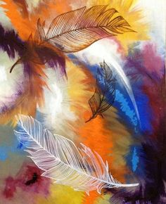 Rainbow Feathers by CathyHewitt on Etsy