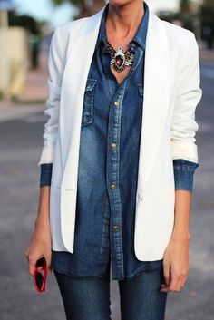 Denim shirt and white blazer waysify