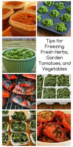 Kalyn's Favorite Tips for Freezing Fresh Herbs, Garden Tomatoes, and Vegetables found on KalynsKitchen.com