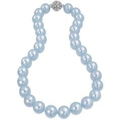 Bling Jewelry Blue Queen Pearls ($23) ❤ liked on Polyvore featuring jewelry, necklaces, necklaces pendants, pearl-strands, pearl pendant necklace, blue pendant, pearl strand necklace, white pearl pendant necklace and pearl jewelry