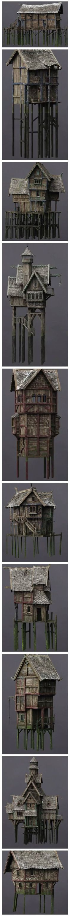 some Lake-town buildings for hobbit lord of the rings Lotr terrain citadel warhammer games workshop empire