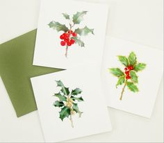 holly berries winter holiday gift enclosure card by atticEditions on etsy