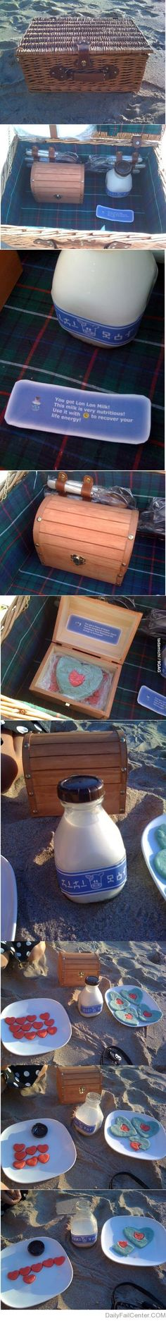 Ocarina of Time themed picnic. OMG!! I would die if someone did this for me! Thats so cute!