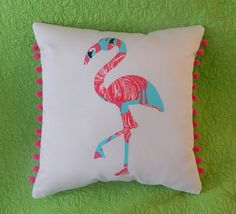 New custom Made To Order Flamingo Pillow made with Lilly Pulitzer Gimme Some Leg fabric