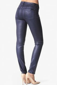 Jeans Seven 7 For All Mankind The Skinny in High Gloss Leather Like Majestic Purple Shimmer #Seven 7 For#Jeans