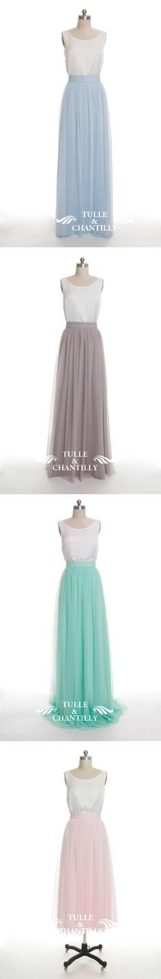 long tulle bridesmaid dresses in pale sky blue, lilac grey, mint, blush for…