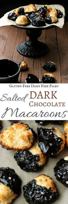 Salted Dark Chocolate Macaroons   Gluten Free & Paleo