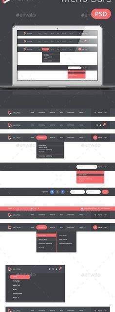 Kalopsia Flat Menu Bars - Navigation Bars Web Elements Navigation Bar, Flat Ui, Menu, Menu Board Design