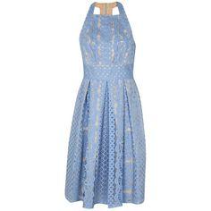 Lover Poppy Halter Flare Dress in Cornflower ($547) ❤ liked on Polyvore