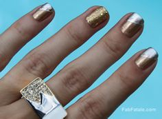 throwback Thursday to one of my fav manicures - mixed metals silver and gold nail art at http://www.fabfatale.com/2011/09/manicure-mondays-24k-white-rose-mixed-metals/