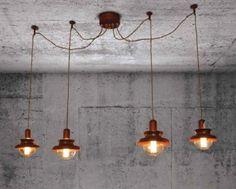 Koperen hanglampen industrieel voor 4 lampen 1,5m breed