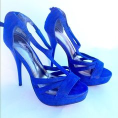 royal blue sexy platforms New with flaws however it's not super noticeable only when up close. The material has rubbed off from being stored. See last pic for flaws. No box . Final sale ask questions. No tags new though. Charlotte Russe Shoes Heels