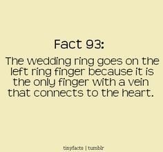 The wedding Ring goes on the left Ring finger, because that's the only finger that has a vein that Connects to heart.