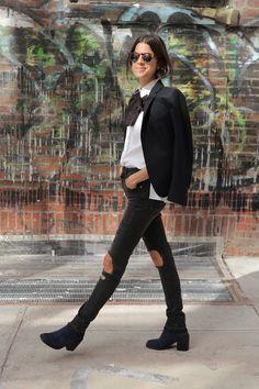 Dries blazer & Saint Laurent pussy bow. fab. Leandra in NYC. #LeandraMedine #ManRepeller