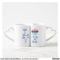 Shop Cute Girly Colorful Kawaii Sweet Love Cupcake Coffee Mug Set created by littleteapotdesigns. Cute Coffee Mugs, Coffee Mug Sets, Mugs Set, Coffee Cup, Sweet Cupcakes, Love Cupcakes, Teapot Design, Valentine Day Gifts, Valentines
