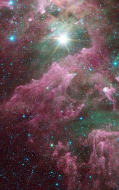 The Tortured Clouds of #EtaCarinae | Massive stars can wreak havoc on their surroundings, as can be seen in this new view of the Carina nebula from NASAs Spitzer Space Telescope. The bright star at the center of the nebula is Eta Carinae, one of the most massive stars in the galaxy. Its blinding glare is sculpting and destroying the surrounding nebula.