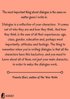 It's how readers identify with characters and the right combination is gold. Pamela Hart shares her thoughts on writing dialogue: #LoveOzLit: Pamela Hart on dialogue http://editingeverything.com/blog/2016/04/11/loveozlit-pamela-hart-dialogue/